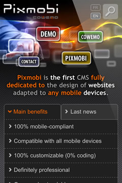Pixmobi mobile website